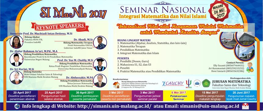 SIMANIS 2017: Seminar Integrasi Matematika dan Nilai Islami